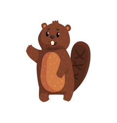 funny beaver with brown fur shaped tail shiny vector image vector image