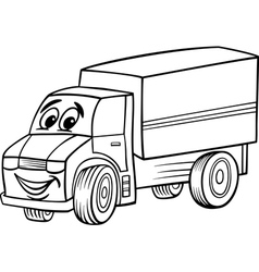 funny truck cartoon for coloring book vector image vector image