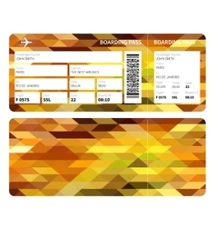 Gold boarding pass vector