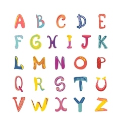 Hand-drawn cute funky alphabet children font on vector
