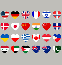 Hearts with flag flag icons set vector