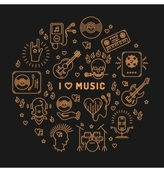 I love music line art icons isolated circle vector