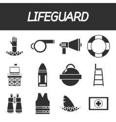 Lifeguard icon set vector image