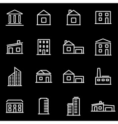 line buildings icon set vector image vector image