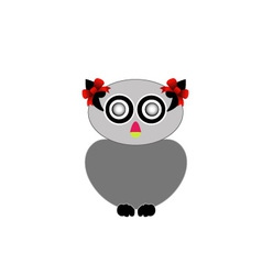 owl with red bow- bird of prey vector image