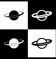 Planet in space sign black and white vector