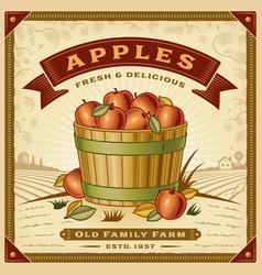 retro apple harvest label with landscape vector image vector image
