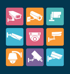 Security cameras white icons on colorful backdrop vector