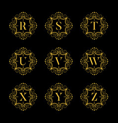 Set luxury alphabet on the black background vector