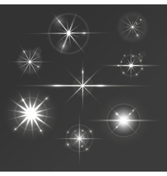 Set of glowing stars with sparkles and circles vector