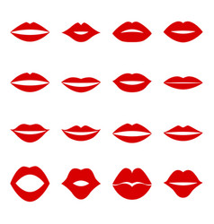 set of red lips vector image