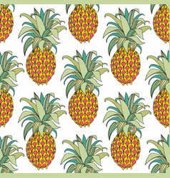 Stylized colorful pineapple seamless pattern vector