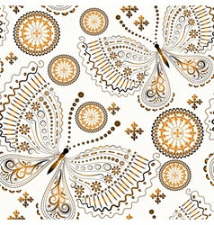 Vintage seamless pattern with gold butterflies vector image