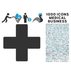Plus icon with 1000 medical business symbols vector