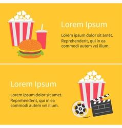 Banner set movie reel open clapper board popcorn vector