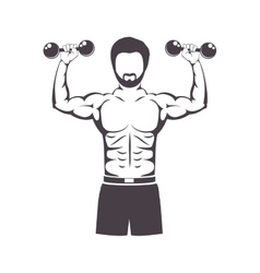 Muscular man lifting a dumbbell vector