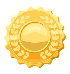 Gold medal with laurels icon cartoon style vector