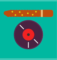 Vinyl record and brown stick vector