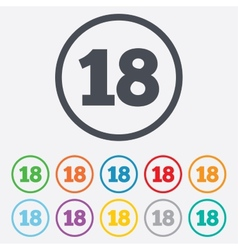 18 years old sign Adults content vector image vector image