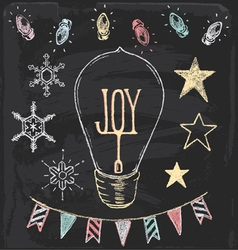 Hand drawn chalk christmas holiday elements set vector