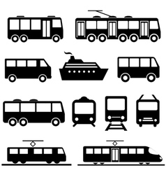 Public transportation icons vector