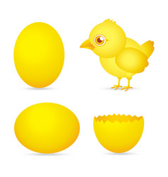 Easter day golden chicken baby cartoon character w vector