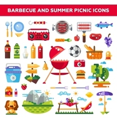 Set of flat design barbecue and summer picnic vector