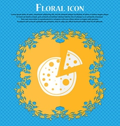 Pizza icon floral flat design on a blue abstract vector