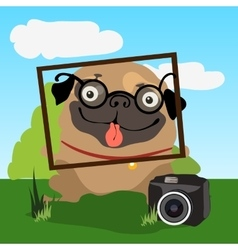 Pug photographer invites you to take photographs vector
