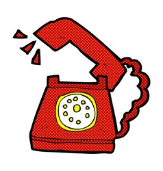 Comic cartoon ringing telephone vector