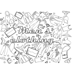 Men clothing coloring book vector image