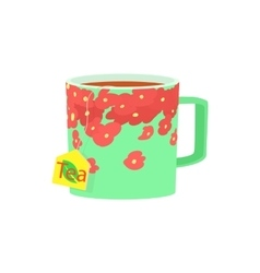 Green cup of tea icon cartoon style vector