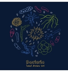 Bacteria virus icons set sketches vector