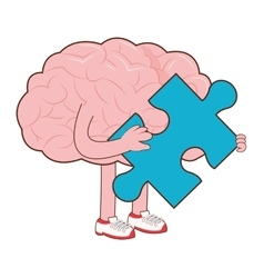 Human brain with puzzle piece icon vector