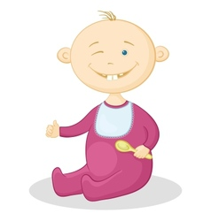 baby with a spoon vector image vector image