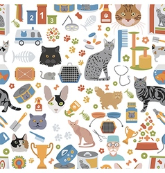 Cat characters and vet care seamless pattern flat vector image
