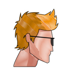 Drawing profile blond head young man sunglasses vector