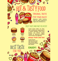 Fastfood poster for fast food restaurant vector