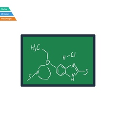 Flat design icon of chemistry formula on classroom vector
