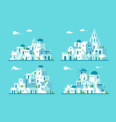 Flat design santorini village set vector