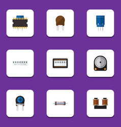 flat icon technology set of microprocessor memory vector image