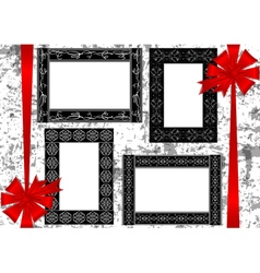Frames with bows on grunge background vector image
