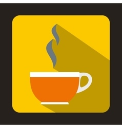 Glass cup of tea icon flat style vector image