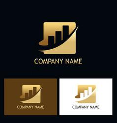 Gold business finance progress logo vector