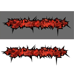 Graffiti abstract red spiked shape pattern on whit vector