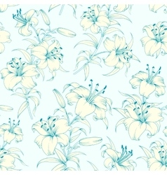 Lily flower seamless pattern vector image
