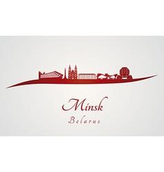Minsk skyline in red vector