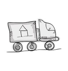Moving truck draw design vector