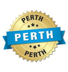 Perth round golden badge with blue ribbon vector