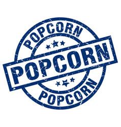 popcorn blue round grunge stamp vector image vector image